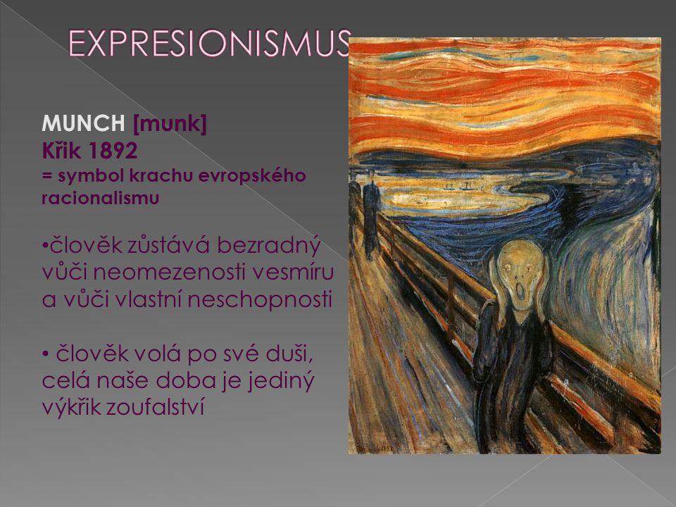 Expresionismus MUNCH [munk] Křik 1892